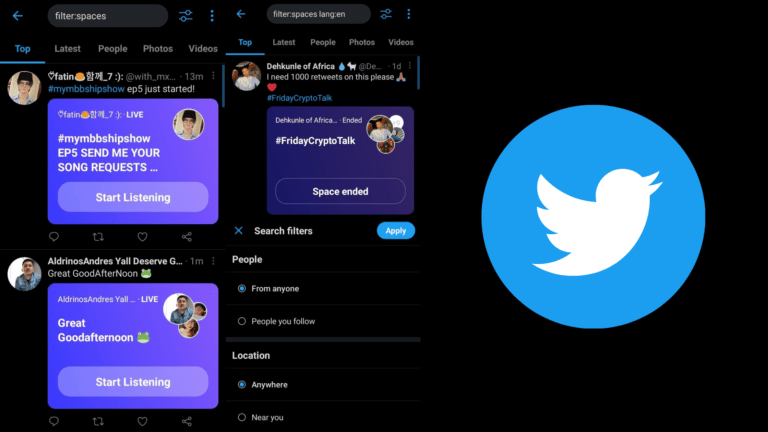 Twitter Spaces can be searched with Filter keyword