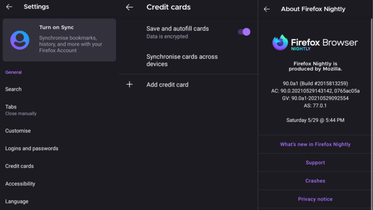 Nightly brings Credit Cards feature in Firefox