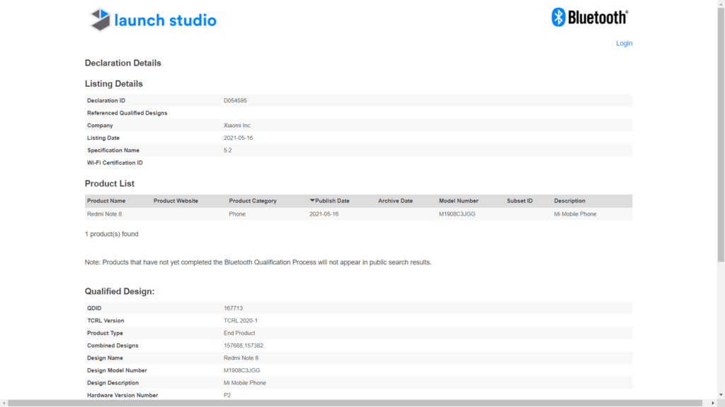 Bluetooth SIG certification for Redmi Note 8 2021 edition