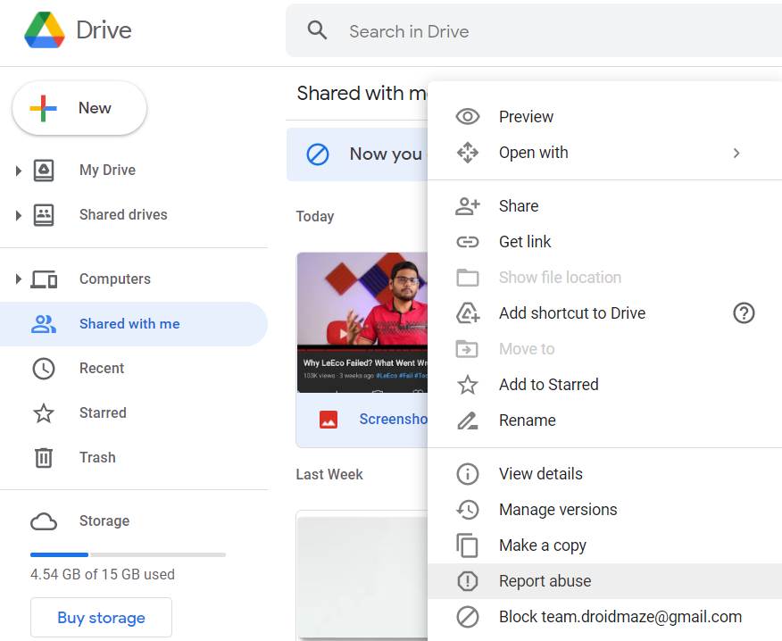 How to Block Spammers on Google Drive?