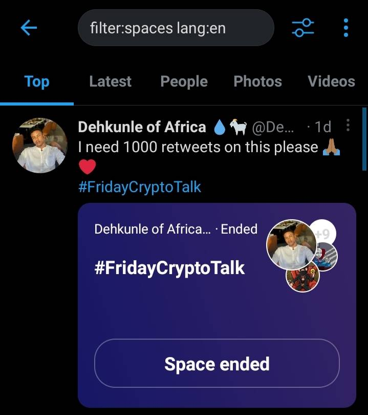 Twitter Spaces filter with Language