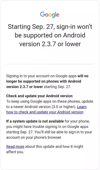 Google pulling off Sign-in support from Android 2.3.7 or lower