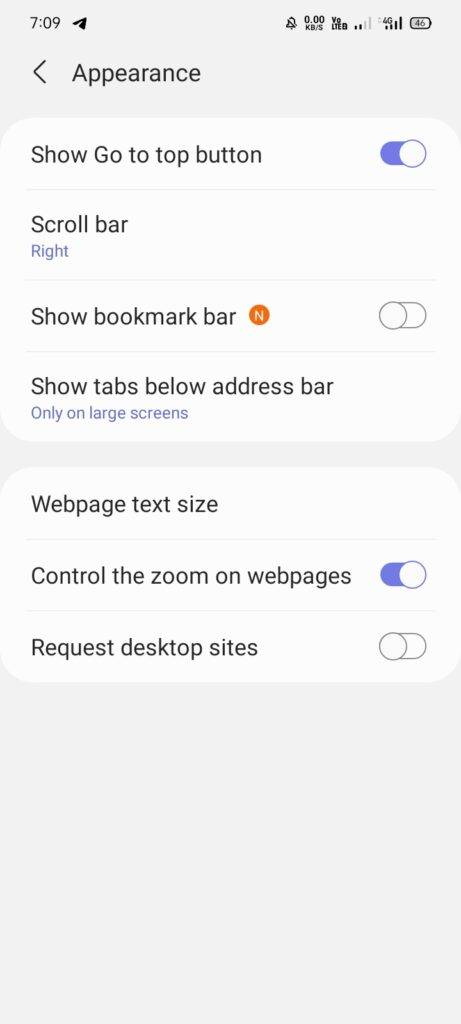 Samsung Internet getting Bookmark Bar and Site permissions